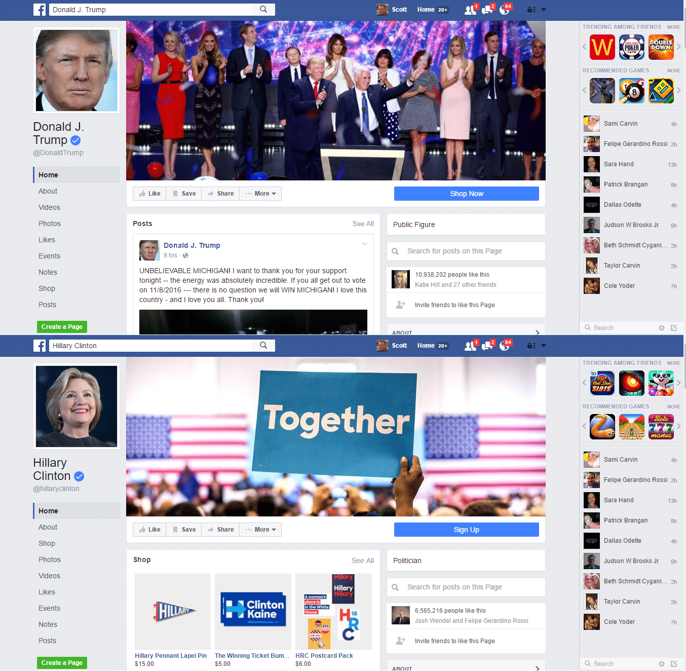 Trump / Clinton FaceBook Comparison